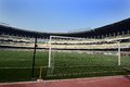 Saltlake stadium in kolkata goal post the india the slat lake was designed for the multi purpose game but it is Stock Image