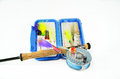 Saltwater Fly Rod and Reel with Fly Box Stock Photo