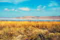 Salty lake in prairie autumn landscape with Royalty Free Stock Photos