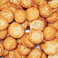Salty round crackers closeup of a pile of Royalty Free Stock Image