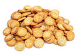 Salty round crackers a pile of on a white background Stock Images