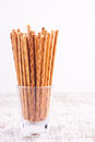 Salty stick crackers on a white background Royalty Free Stock Image