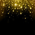Salute star of gold stars on a black background Royalty Free Stock Image