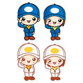 Salute to boy girl character mascot childrens character design series Stock Images