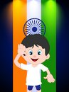 Saluting a cartoon boy with Indian Flag Stock Image