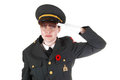 Saluting military woman. Stock Images