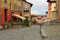 Saluzzo old quarter piemonte italy city of province of cuneo piedmont streetscape and buildings Stock Photos