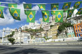 Salvador brazil lower city with flags brazilian fly over sunny view of cidade baixa in Royalty Free Stock Image