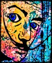 Salvador Dali art print in vivid colors Royalty Free Stock Photo