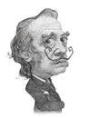Salvador Dali Caricature Sketch Royalty Free Stock Photo