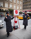 Salvation army collection new york city dec workers perform for collections on dec in midtown manhattan this christian Royalty Free Stock Images