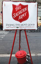Salvation army red kettle for collections in midtown manhattan new york december on december this christian organization is known Stock Images