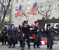 Salvation army soldiers perform for collections in midtown manhattan new york december on december this christian organization is Royalty Free Stock Images
