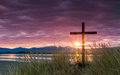 Salvation dawn sun cross the s morning ray give hope for a new day and the hope of Stock Images