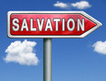 Salvation road sign arrow follow jesus and god to be rescued save your soul icon button red Royalty Free Stock Images