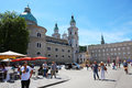 Salzburg austria august cathedral square in the morning Royalty Free Stock Photo