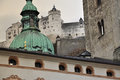 Salzburg austria baroque architecture and castle city of church cupola Royalty Free Stock Images