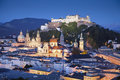 Salzburg austria image of during twilight blue hour Stock Photos