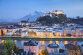 Salzburg austria image of during twilight blue hour Royalty Free Stock Photography
