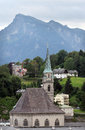 Salzburg old church in austria in the background hill of untersberg Royalty Free Stock Photos
