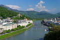 Salzburg panorama which means salt castle or salt fortress is an austrian town which is famous for its well preserved old city Royalty Free Stock Images