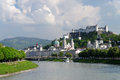 Salzburg panoramic view which means salt castle or salt fortress is an austrian town which is famous for its well preserved old Royalty Free Stock Images