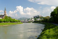 Salzburg riverscape which means salt castle or salt fortress is an austrian town which is famous for its well preserved old city Royalty Free Stock Photo