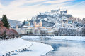 Salzburg skyline with Festung Hohensalzburg and river Salzach in winter, Salzburger Land, Austria Royalty Free Stock Photo