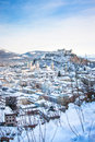 Salzburg skyline with Festung Hohensalzburg in winter, Salzburger Land, Austria Royalty Free Stock Photo