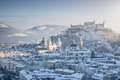 Salzburg skyline with Fortress Hohensalzburg in winter, Salzburger Land, Austria Royalty Free Stock Photo