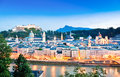 Salzburg skyline with river salzach at dusk salzburger land austria panoramic view of as seen from kapuzinerberg in Stock Images