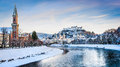 Salzburg skyline with river Salzach in winter, Austria Royalty Free Stock Photo
