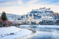 Salzburg skyline with river Salzach in winter, Salzburger Land, Austria Royalty Free Stock Photo