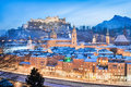 Salzburg skyline in winter as seen from Kapuzinerberg, Salzburger Land, Austria Royalty Free Stock Photo