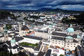 Salzburg view on from the castle just bevore the thunderstorm Royalty Free Stock Image