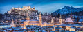 Salzburg winter panorama at blue hour, Salzburger Land, Austria
