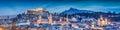 Salzburg winter panorama at blue hour, Salzburger Land, Austria Royalty Free Stock Photo