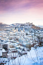 Salzburg in winter salzburger land austria beautiful view of the historic city of with festung hohensalzburg Stock Photo