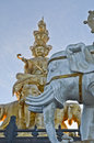 Samantabhadra statue with blue sky against on mount emei Royalty Free Stock Images