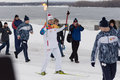 Samara russia december olympic torch in samara on decemb Royalty Free Stock Photo