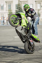 Samara russia july jury verhovnikov russia performs a stunt trick during adrenalin rush fmx show in Stock Images