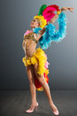 Samba dancer young woman in a costume carnival against dark background Royalty Free Stock Photos