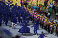 Samba dancers perform during Rio 2016 Olympics Opening Ceremony at Maracana Stadium in Rio de Janeiro