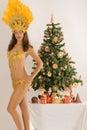 Samba girls from Bavarian Christmas tree Stock Photo