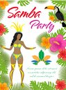Samba party poster, invitation, flyer. Brazilian dancer, tropical plants, parrot, toucan, flowers. Brazil carnival