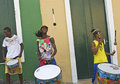 Samba street performers playing doing stunts pelourinho area salvador brazil december Stock Image