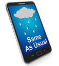 Same as usual on mobile means no change in the weather meaning Royalty Free Stock Images