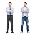 Same man in different style clothes business and casual clothing concept Royalty Free Stock Images