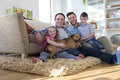 Same sex couple with children and dog Royalty Free Stock Photo