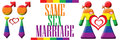 Same sex marriage banner gay and lesbian symbols in rainbow with text next to it Stock Photos